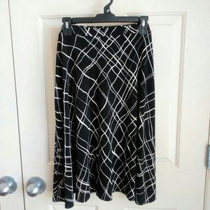 Liz&Co Women Black White Abstract Skirt Size XL